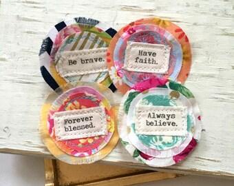 fabric word flower embellishments, fabric scrapbook flowers, printed fabric word flowers, fabric scrap happy flowers, fabric quote flowers