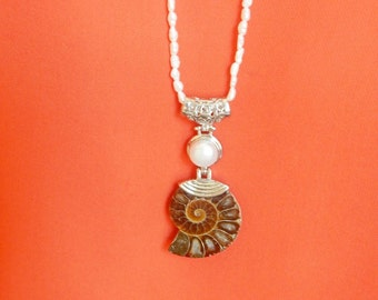 Long White freshwater nugget pearl necklace with ammonite fossil and  pearl silver plated pendant  (30 inches necklace)