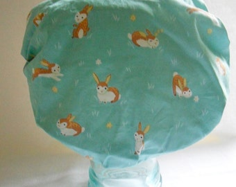 Retro Shower Cap - Preppy Bunnies Rabbits on Aqua Turquoise Green Blue - Rockabilly Bath and Beauty Hat