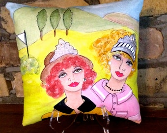 new..QUEENS of the GREENS PILLOW, Hand Painted, golf, golf girls, golf gift, fun golf quote, lime green, tiaras, rhinestones, golf buddy