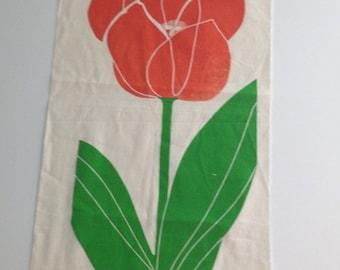 Vintage Rare Marushka Large Floral Flower Panel Silk Screen Midcentury Modern
