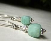 Amazonite Cube Earrings Sterling Silver, Faceted Stone, Mint Seafoam Genuine Gemstone Dangle, Mint Green Earrings
