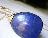 Genuine Lapis Necklace Goldfilled, Teardrop Royal Navy Blue Gemstone Briolette, Large Minimalist Pendant, Gold Filled Lapis Lazuli Jewelry