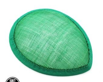 1 - Green - Teardrop Hat Base - Hat Form - Hat Foundation -  Sinamay Straw - Fascinator - Millinery