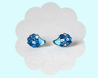 Blue hedgehogs stud earrings - Animal jewelry - illustrated acrylic jewelry