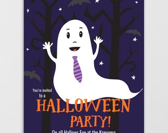 Halloween Invitation Printable, Halloween Party, Costume Party, Ghost, Halloween Invitation Kids, Spooky Tree, Boo, Printable Invitation
