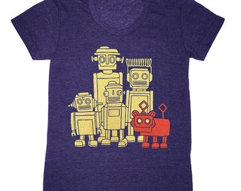 Womens - Vintage Robots T-shirt - Girls Tee Shirt Cute Geek Nerd Retro SciFi Science Fiction Techie Futuristic Technology Triblend Tshirt