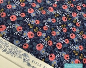 Rifle Paper Co Fabric, Cotton and Steel fabric, Les Fleurs by Ana Bond, Rifle Paper Company, Blue fabric, Rosa in Navy- Choose the cut