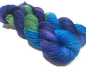 Hand Dyed Yarn – Superwash Merino Wool Cashmere Nylon MCN Sock Yarn  - Purple, Green, Blue - 400 Yards – Fingering Weight Yarn