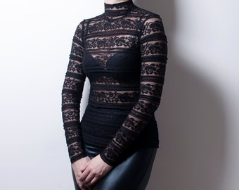 Ruffled Black Lace Turtleneck Top with long Sleeves-Made to Measure
