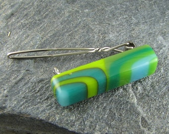 Shades of Green Fused Glass Barrette. Art Glass Jewelry. Glass Barrette. Hair Accessory. Green Barrette. Fused Glass Accessory. Hair Clip.