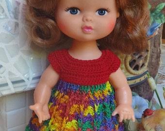 Crochet Dress for 8  9 inch Playmates 70's Doll Hong Kong Red Festive