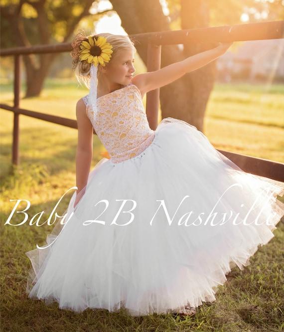 Sunflower Dress Sequin Dress  White Dress Lace Dress  Rustic Dress Sunflower Baby Dress Toddler Sunflower Tulle Dress Girls Sunflower Dress
