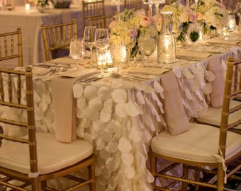 Ivory Round Petal Ruffle Rectangle Tablecloth, Dessert Table, Cake Table, Wedding, Event, Decor, Romantic Wedding