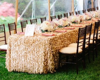 "Tan LEAF Hanging Petal Ruffle Tablecloth 90""x132"", Dessert Table, Cake Table, Wedding, Event, Decor, Romantic Wedding Champagne"
