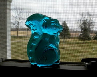 Blue Glass Squirrel Paperweight Vintage Animal Figurine RARE