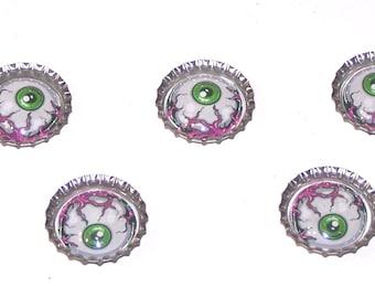 set of 5 bottle cap eyeball magnets or thumbtacks