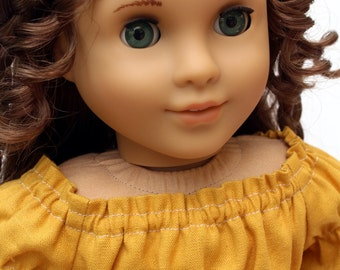 Fits like American Girl Doll Clothes  - The Golden Autumn Collection, Linen Babydoll Peasant Top in Mustard, Made To Order