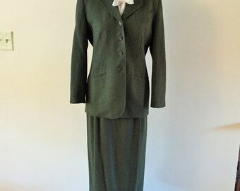 Green Pendleton Suit maxi skirt and jacket Vintage 1980s Knockabouts  Sz 6