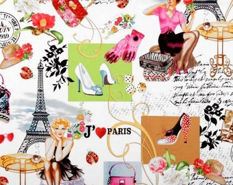 April In Paris- Collage Multi- Timeless Treasures  -Cotton Fabric-Quilt Cotton- By the Yard -By the half yard.