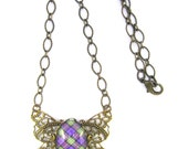 Scottish Tartan Jewelry - Ancient Romance Series - Bonnie Heather Tartan Filigree Butterfly Necklace with Amethyst Glass Charm