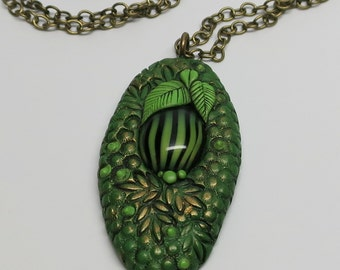 Pendant Necklace Polymer Clay, Oval Green Textured with Unique Cabochon