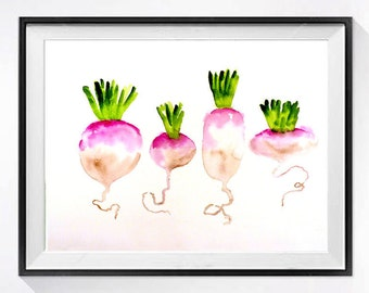 Kitchen Art |  Vegetable Art | Turnips | Watercolor Print | Garden painting illustration Botanical art gardener gift | LaBerge Muren Studio