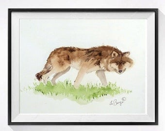 Coyote Artwork /ORIGINAL art / Original Watercolor Painting / Woodland fine art / Animal art / Wildlife art painting Nature / 8 x 10 O