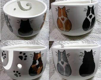 Group of Five Cats On Yarn Bowl Handmade Original Earthenware Clay by Grace M Smith