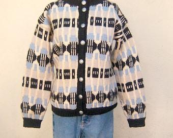 Fair Isle cardigan / HAND KNIT scandinavian sweater / ice blue black Nordic ikat, floral metal buttons / womens medium large