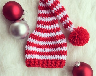Crocheted Christmas Hat {Santa Hat, Elf Hat, Long Tailed Hat, Red and White Stocking Hat}