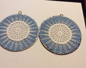 Pair of Vintage Hand Crochet Blue and White Trivets