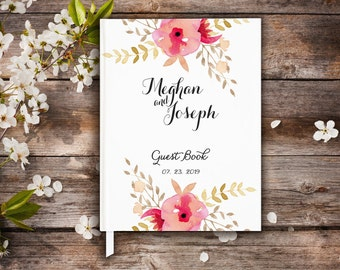 Wedding Floral Guest Book, Pink Flowers, Wedding Book For Guests, Wedding Wishes Book, Gift Idea Guest Book, Wedding Journal, Brides Book