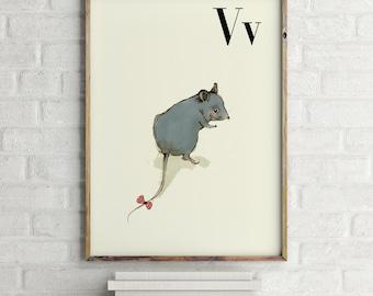 Vole print, nursery animal print, woodland nursery, alphabet letters, abc letters, alphabet print, animals prints for nursery