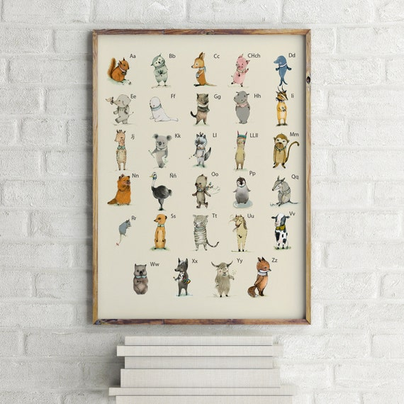 SPANISH -  ABC Animals Alphabet Poster, Learning A3 size