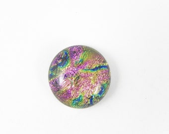 Dichroic Fused Glass Cabochon - Multicolor - 1651 - 17mm