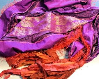 Gypsy Fringe Sari Scarf Shawl  Purple Gold