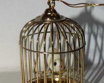 Vintage Brass Mini Bird Cage, Turtle Dove Bird Cage, Christmas Tree Ornament