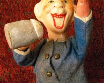 Vintage Rolly Toy Mechanical Paper Mache Beer Drinking Man Western Germany
