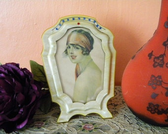 Antique Celluloid Picture Frame with Rhinestones and Flapper Girl Art