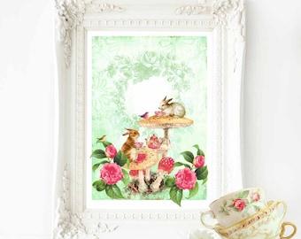 Rabbit print, woodland forest animals tea party, nursery print, Easter print, A4 giclee print