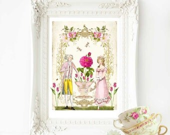 Marie Antoinette romantic, French couple art print, A4 giclee