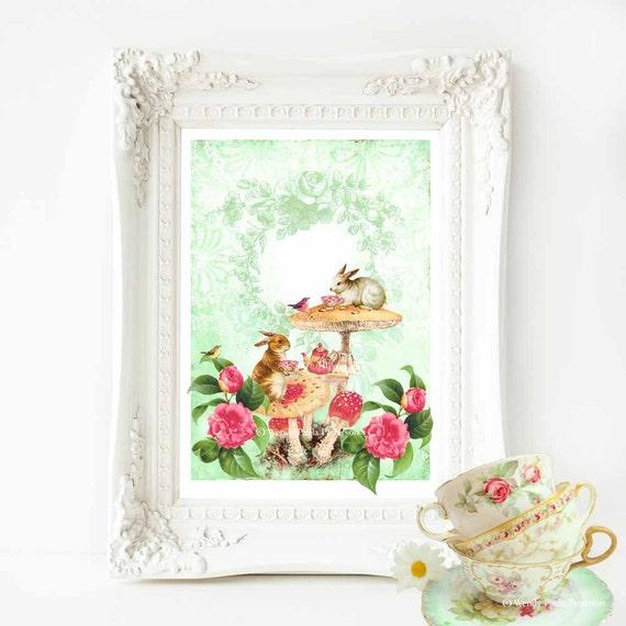Rabbit print, nursery decor, woodland nursery art, woodland tea party, nursery print, rabbit, woodland nursery decor, vintage decor, A4