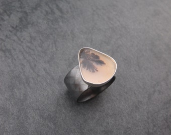 Foliage- Sterling silver and agate quartz ring- One of a kind- Made to Order in your size