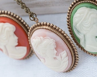 Cameo Necklace, Pink and Gold Necklace, Vintage Cameo Necklace