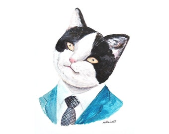 Cat Illustration Print Tuxedo Cat Black & White Cat in Blue Suits Necktie Funny Pet Portrait Animal Painting Whimsical Home Wall Decor MiKa