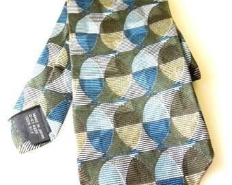 Vintage Men's Neck Tie Necktie // All Silk // 1980's Designer Jhane Barnes // Geometric Print