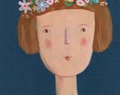 Portrait with flowers    Original Painting