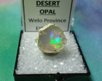 Sale OPAL Natural Rainbow Flash Desert Opal Gemstone In Perky Mineral Specimen Box From Ethiopia