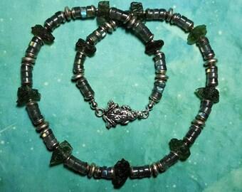 Sale MOLDAVITE FLYING FROG Labradorite And Tektite Meteorite Gemstone Sterling Silver Designer Bead Necklace